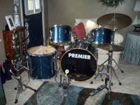 Colbolt Blue Premier Drum Set- Used less than 5 times