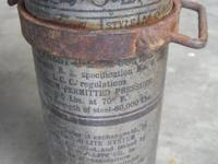 Early PREST-O-LITE gas tank with working gauge that
