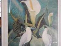 Nice painting print bird & flowers in glassed frame