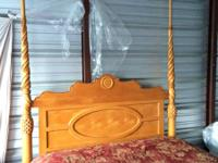 Beautiful Queen bed with mattress set $240.00  Bed is