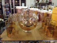 PRETTY VINTAGE PITCHER AND SIX GLASSES!  $20 This nice
