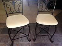 2 beautiful, wrought iron, counter height bar stools
