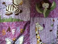 Girls Safari Crib Set. Comes with quilt, bumper, 2