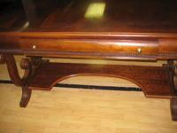 Absolutely gorgeous mahogany wood scroll work desk. In