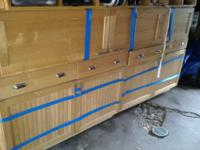Slightly used Beautiful 9 piece custom Maple Cabinets.