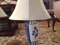"Beautiful blue and white TABLE LAMP 28"" tall with new"