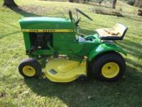 ONLY 20 hours on motor. John Deere 70 Lawn Tractor