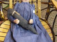 This is a hand-made primitive angel shelf-sitter with