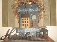 "PRIMITIVE DECOR. WALL HANGING ""BLESS OUR HOME WITH LOVE"