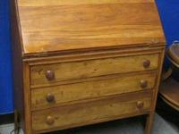 Antique French primitive desk. Three cabinets below the