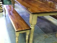 Custom built primitive harvest tables and benches and