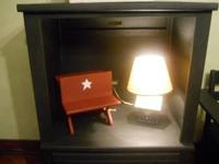 Several Primitive items for sale!   Black tv stand.