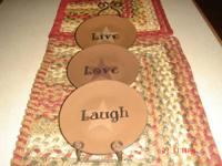 LIVE LOVE LAUGH PLATES WITH PLATE WALL HANGER.  NEW