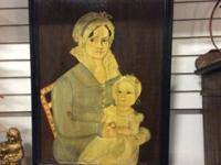 "Beautifully painted primitive picture titled ""Mrs. John"
