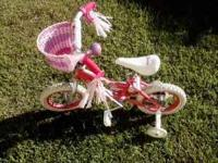 small girls princess bicycle pink like new very lightly
