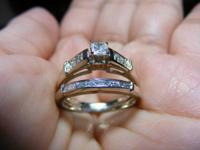 Nice princess cut diamond engagement ring set in 14 kt.