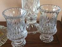 "Two 7"" candle lamps and one 10"" Hurricane lamp"