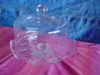 Pedestal Cake plate with domed glass cover! Heritage