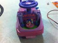 Ride on for toddler. Needs batteries but works great.