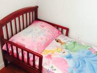 Princess comforter an sheet set. Cherry toddler bed in