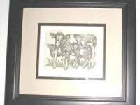 Framed Print-An etching by and signed by M. K.
