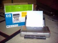 Hp 460 portable printer with battery and usb cable;