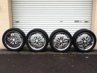 "Pristine 18"" ZYXX Chrome 5 Lug Rims w / Like New Toyo"