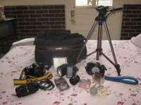 Super Cameras, Lens, Filters, Tripod and BAG for sale.