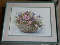 Contemporary art print of big woven basket loaded with