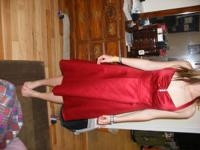 For sale: Deep red, size 6 prom dress from David's