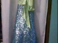sparkly blue and lime green dress, size 0 petit girls,
