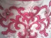 white prom dress with pink trim, size 14, worn once,, $