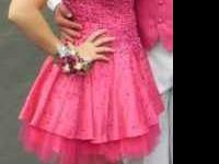 Pink sparkly prom dress only worn once size 6. Call  if