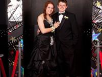 Size 2-6: Black prom dress with white flower
