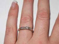 Diamond Promise Ring set in 10k White Gold. Princess