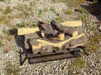 . A complete set of propane fire logs ready to connect
