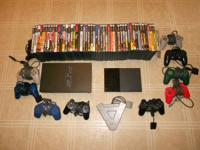 2 ps2 systems with 55 games, 10 controllers, 4 player