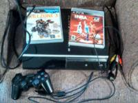 Ps3, AV and power cords cords, 1 controller, 2 games