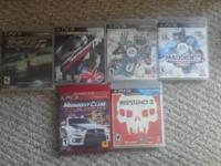 Resistance 3-$10 Midnight club-$15 Madden
