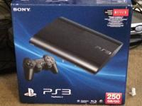 PS3 Console - Super Slim - 250gb. Less than 1 years of