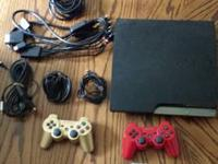 *ps3 slim 80gb *gold wireless controller *red wireless