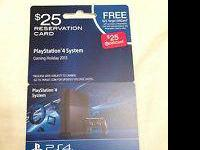 I have a Playstation 4 Reservation card which