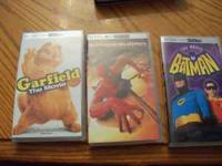 I have three movies for sale for the PSP. Garfield the