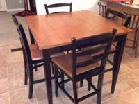 "Pub style dining table with 4 chairs. 39 1/2"" x 39 1/2"""