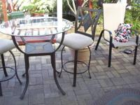 Pub Style Patio Table and Swivel Chair/Stools. The