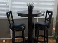 Black Wooden Pedestal Pub Table with 2 swivel wood