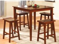 Popular Pub Height table and four stools. Choose dark
