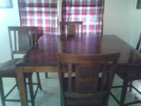 Pub height dining room table with-removable leaf + 4