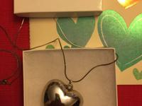 Puffed Silver Plated Pendant Heart with 30 inch Silver