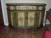 Pulaski hand painted console, lots of storage,